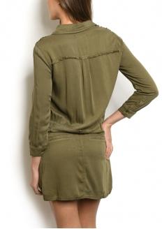 Vestido Com Bolsos Frontais Manga Longa - Verde