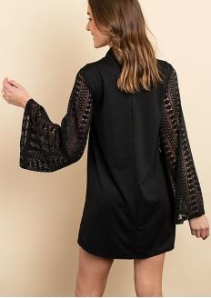 Long Flare Lace Sleeve Shift Dress - Black