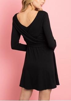 Long Sleeve V-neck Crossover Overlap Dress - Black