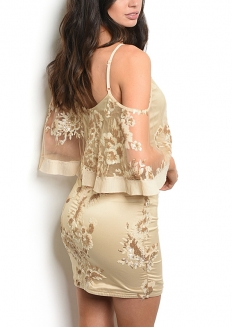 Neck Ruffled Mesh Sequins Satin Dress - Golden