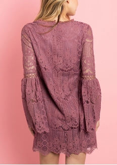 Lace Flare Sleeve Dress - Mauve