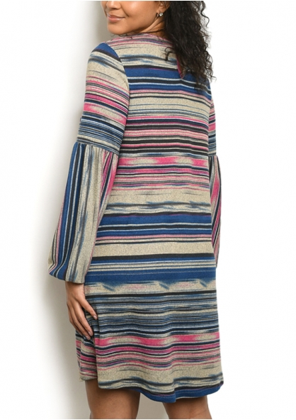 Striped Long Sleeve Knit Dress - Blue