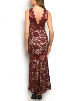 Sleeveless All Over Lace Gown - Nude / Burgandy