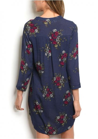 3/4 Sleeve V-neck Floral Tunic Dress - Navy