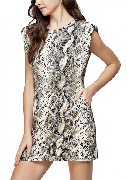 Snake Print Dress With Shoulder Pads