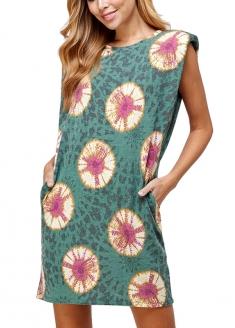 Tie Dye Print Sweat Dress With Shouder Pad
