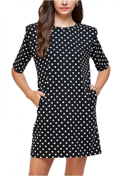 Polka Dot Print Dress With Shoulder Pads - Black