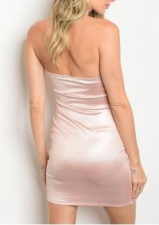 Keyhole Neckline Satined Bodycon Dress - Dust Pink