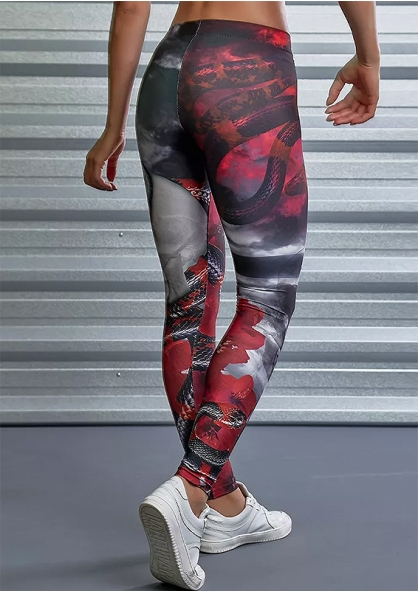Labellamafia Print Black Roses Legging - Red