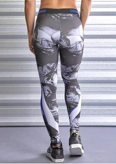 Labellamafia Unbroken Skull Print Legging - Blue