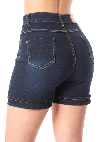 Sawary Super Lipo Strech Jeans Bermuda with Inner Cinther - Dark Blue