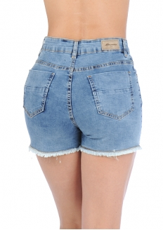 Sawary Short Jeans Stretch Com Botões