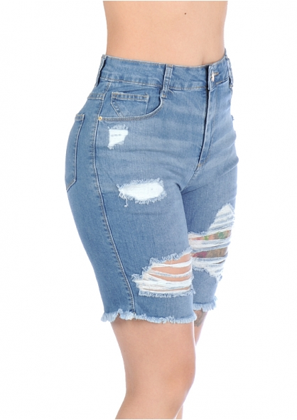Sawary Bermuda Jeans Stretch Cintura Alta Rasgada