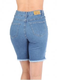 Sawary Ripped Stretch Jeans Bermuda
