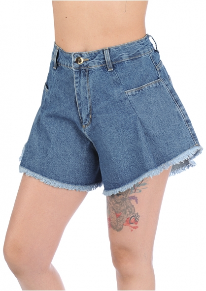 Sawary Wide Hem Rufled High Rise Jeans Shorts - Blue
