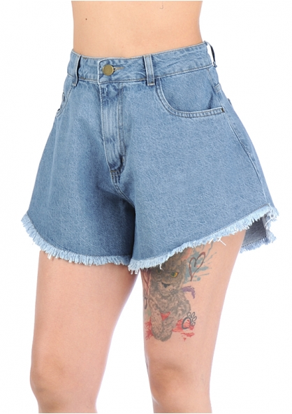 Sawary Wide Hem Rufled High Rise Jeans Shorts - Light Blue