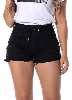 RI19 Belted High Waist Stretch Jeans Shorts - Black