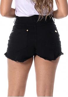 RI19 Short Jeans Stretch Cintura Alta com Cinto - Preto