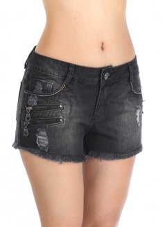 Sawary Crush Jeans Short with Zipper and Chain - Black