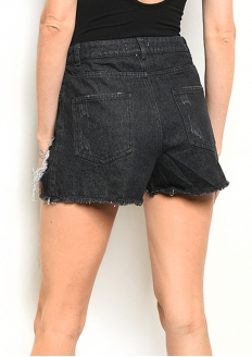 Crushed Denim Short with Mesh - Black