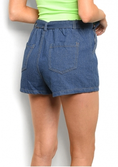 Self Belted Denim Shorts