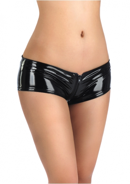 Full Zipper Vinil Micro Short - Black