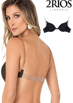 2 Rios Bra with Clear Back and Straps - Black