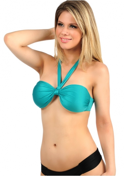 SANNA'S Swimwear Twisted Bandeau Top with Fixed Pad - Removable Strap