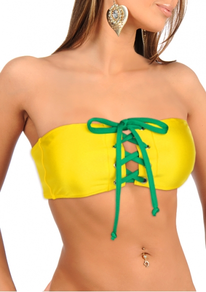 SANNA'S Swimwear Bandeau Top with Eyelets