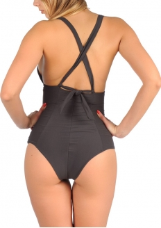 SANNA'S Swimwear Defined Silhouette Halter One Piece