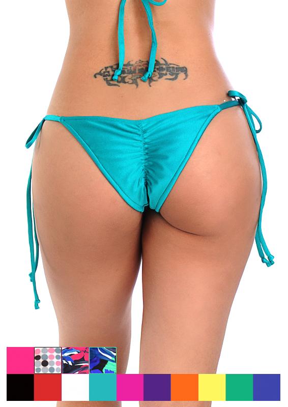 ebacd3ff0 Swimwear Tie Loop Brazilian Cut Scrunch Bottom
