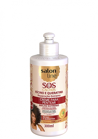 Salon Line S.O.S Cachos Castor Oil and Keratin Curly Hair Leave-in Cream 300ml