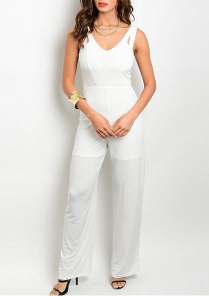 V-neckline Sleeveless jumpsuit - Ivory
