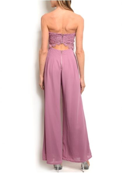 Sleeveless Lace cut out Jumpsuit - Mauve