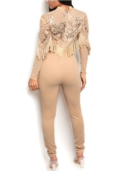 Sequined Tule Long Sleeve Jumpsuit with Fringe - Taupe