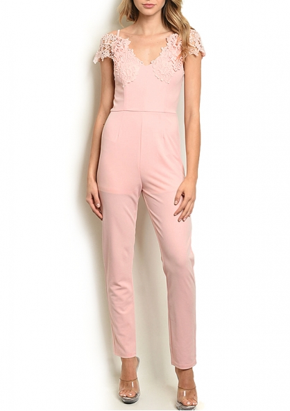 Lace Sleeve Jumpsuit - Pink