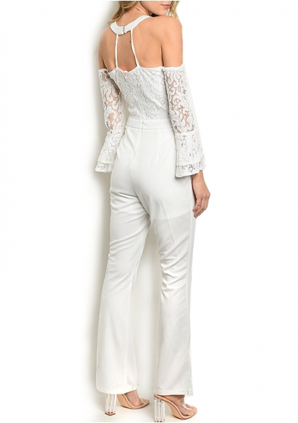 Lace Long Sleeve Bell Bottom Jumpsuit - White