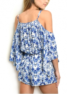 Cold Sleeve Geometric Print Romper - Blue