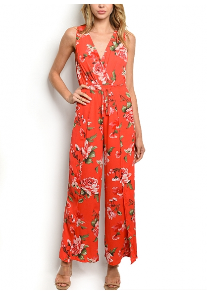 Sleeveless V-neck Floral Print Jumpsuit - Red