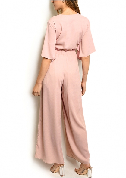Half Sleeve Knotted Front Jumpsuit - Blush