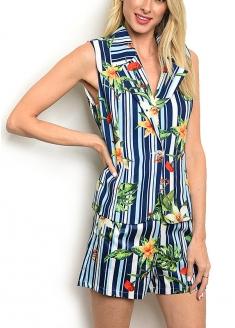 Sleeveless V-neck Striped Top and Shorts Set - Blue
