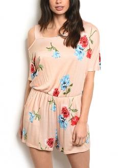 Short Sleeve Scoop Neck Floral Romper - Peach