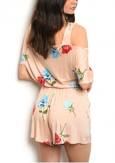 Short Sleeve Scoop Neck Floral Romper - Peach