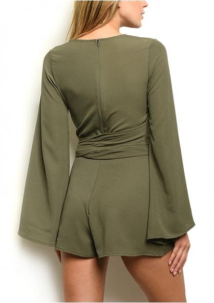 Long Bell Sleeve V-neck Belted Romper - Olive