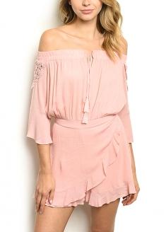 Off Sholder 3/4 Sleeve Romper - Pastel Pink