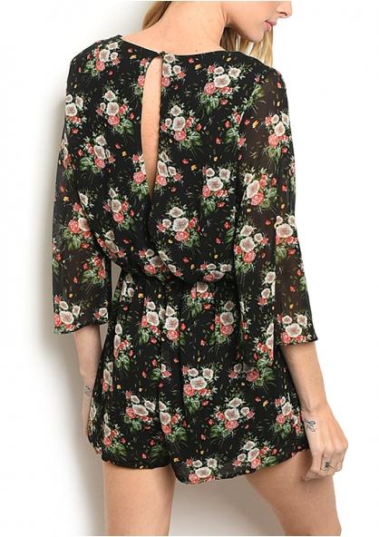 3/4 Sleeve V-neck Floral Print Romper - Black