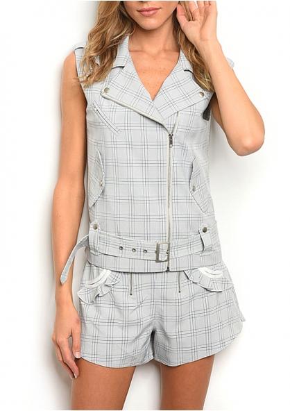 Sleeveless Checked Moto Vest and Shorts Set - Navy / Grey