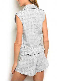 Sleeveless Checked Moto Vest and Shorts Set - Navy / Grey