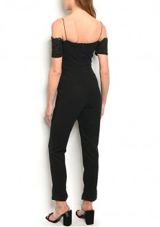 Short Sleeve Off Shoulder Crochet Detail Jumpsuit - Black