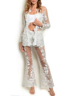 Lace Blazer and Bell Pant Set - White